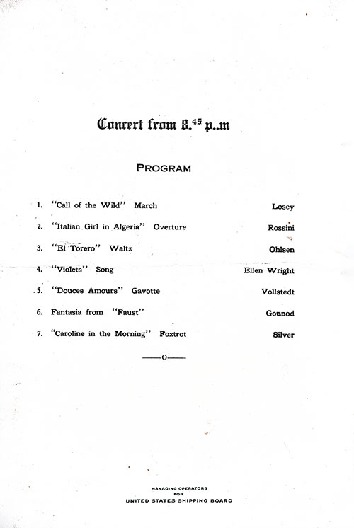 Concert Program, SS President Arthur Dinner Menu - 21 October 1923
