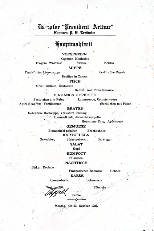 Menu in German, SS President Arthur Dinner Menu - 22 October 1923