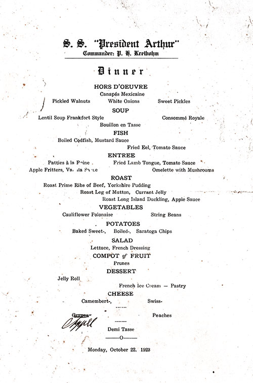 Menu Items, SS President Arthur Dinner Menu - 22 October 1923