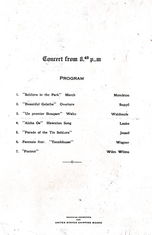 Concert Program, SS President Arthur Dinner Menu - 22 October 1923