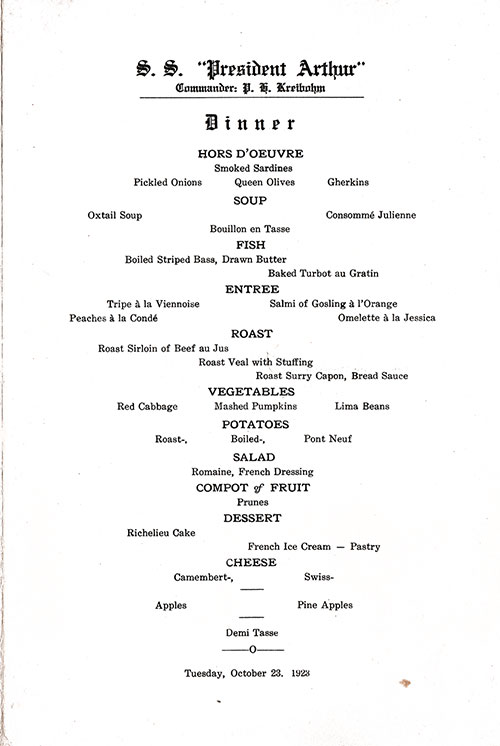 Menu Items, SS President Arthur Dinner Menu - 23 October 1923