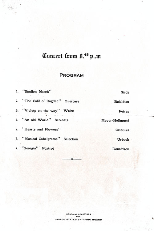 Concert Program, SS President Arthur Dinner Menu - 23 October 1923