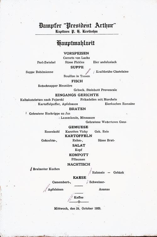 Menu in German, SS President Arthur Dinner Menu - 24 October 1923