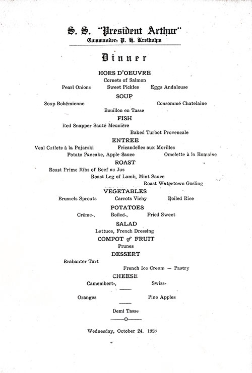Menu Items, SS President Arthur Dinner Menu - 24 October 1923