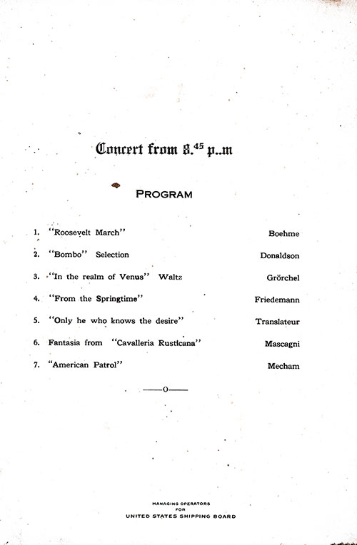 Concert Program, SS President Arthur Dinner Menu - 24 October 1923