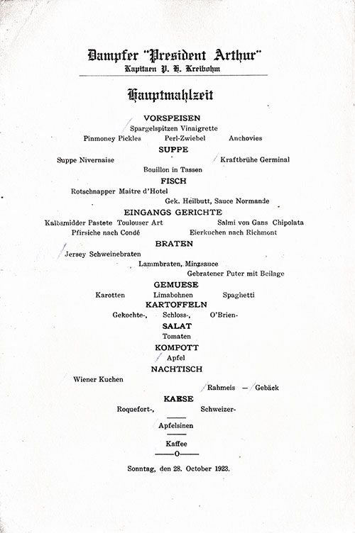 Menu in German, SS President Arthur Dinner Menu - 28 October 1923