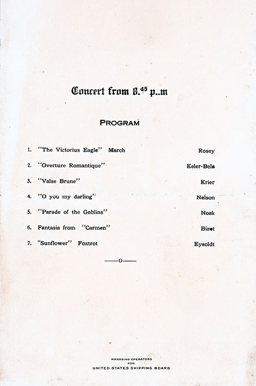 Concert Program, SS President Arthur Dinner Menu - 28 October 1923