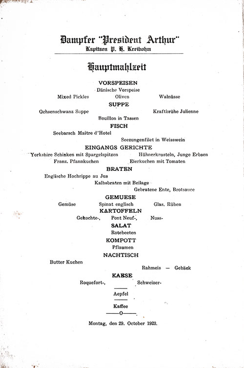 Menu in German, SS President Arthur Dinner Menu - 29 October 1923