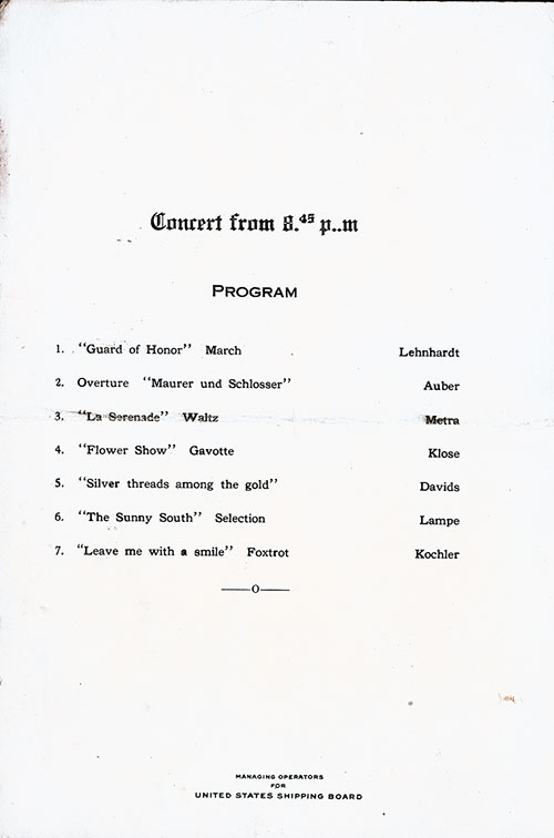 Concert Program, SS President Arthur Dinner Menu - 29 October 1923