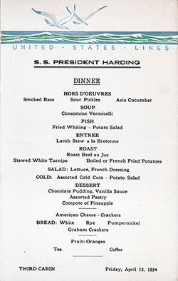 SS President Harding Dinner Menu Card - 13 April 1934