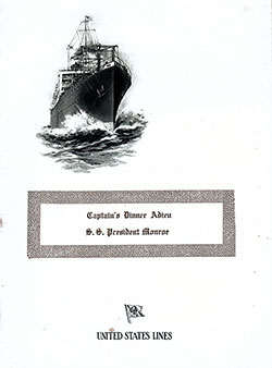 Front Cover - SS President Monroe Captains Farewell Dinner Bill of Fare 10 August 1922