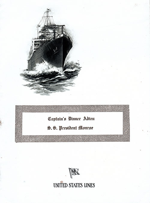 Front Cover - SS President Monroe Captains Farewell Dinner Menu 10 August 1922