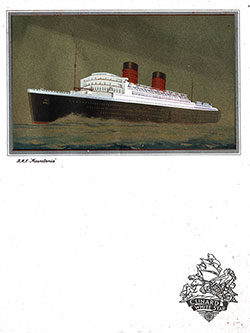 Front Cover, RMS Queen Elizabeth Dinner Menu - 28 August 1949