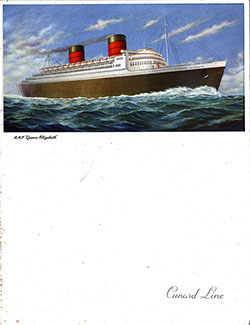 Front Cover, RMS Queen Elizabeth Farewell Dinner Menu - 11 May 1952