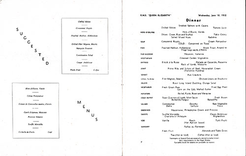 Menu Items, RMS Queen Elizabeth Dinner Menu - 18 June 1952