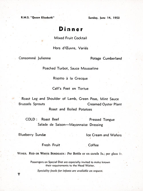Menu Items, RMS Queen Elizabeth Dinner Menu - 14 June 1953