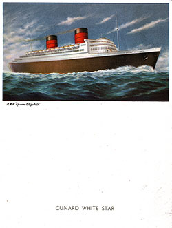 Front Cover - RMS Queen Elizabeth Farewell Dinner Menu - 15 June 1953