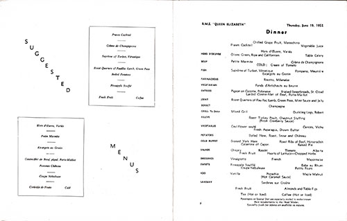 Menu Items, RMS Queen Mary Dinner Menu - 19 June 1952