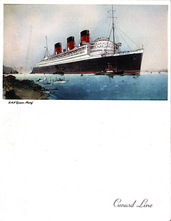 Front Cover - RMS Queen Mary Farewell Dinner Menu - 11 August 1952