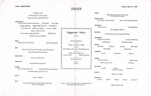 Menu Items, RMS Queen Mary Dinner Menu - 15 March 1953