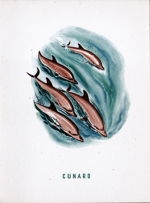 Front Cover, RMS Queen Mary Dinner Menu - 28 March 1953