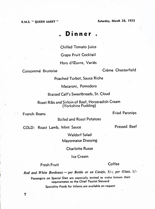 Menu Items, RMS Queen Mary Dinner Menu - 28 March 1953