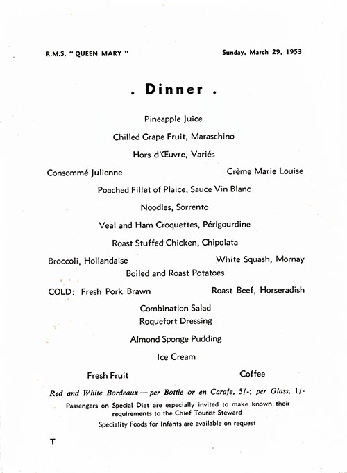 Menu Items, RMS Queen Mary Dinner Menu - 29 March 1953