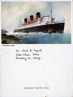 Front Cover - RMS Queen Mary Farewell Dinner Menu - 1 April 1953
