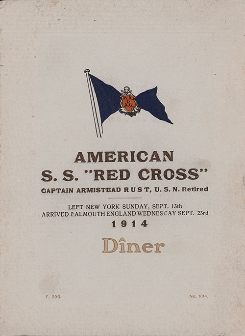 Front Cover, Dinner Menu, Medical Personnel on the SS Red Cross of the Hamburg-America Line, Wednesday, 23 September 1914.