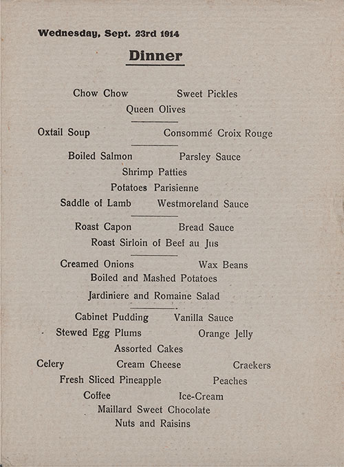 Menu Selections, Dinner Menu, Medical Personnel on the SS Red Cross of the Hamburg-America Line, Wednesday, 23 September 1914.