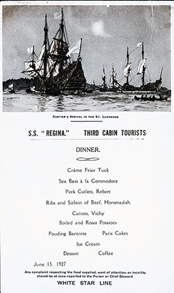 SS Regina Dinner Menu Card - 13 June 1927