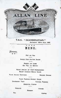 S.S. Scandinavian Dinner Menu Card 20 July 1912