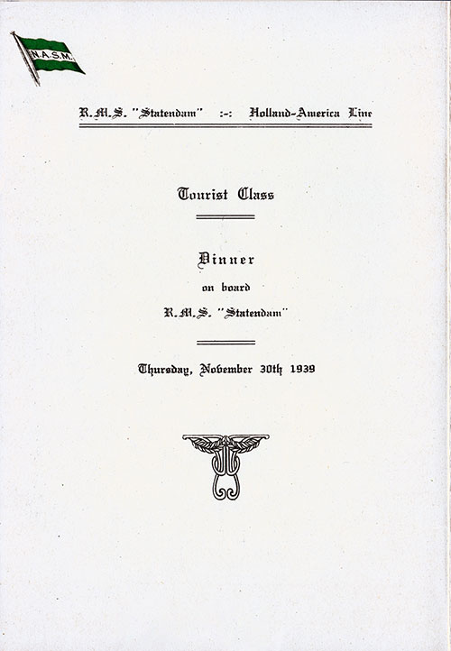 Title Page, SS Statendam Dinner Menu - 30 November 1939