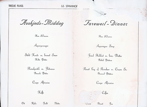 Menu Items in Norwegian and English, SS Stavangerfjord Third Class Farewell Dinner Menu from the 1920s.