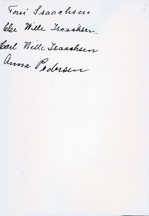 Autographs on the Back Cover, SS Stavangerfjord Third Class Farewell Dinner Menu from the 1920s.