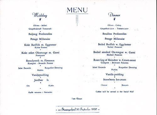 Menu Items, SS Stavangerfjord Dinner Menu - 30 September 1950