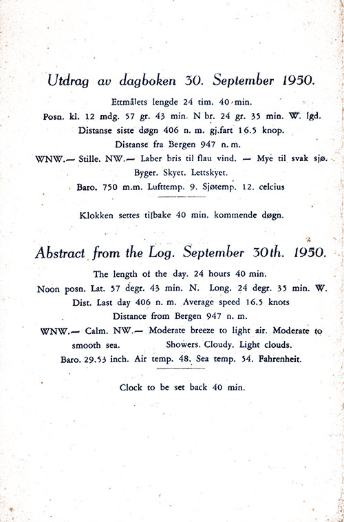 Abstract from the Log, SS Stavangerfjord Dinner Menu - 30 September 1950