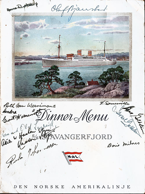 Front Cover, SS Stavangerfjord Farewell Dinner Menu - 21 July 1953