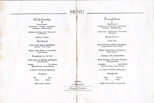 Menu Items, SS Stavangerfjord Farewell Dinner Menu - 21 July 1953