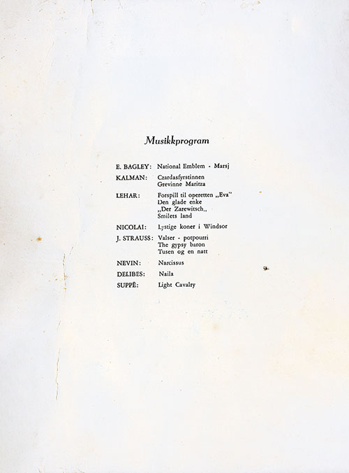 Music Program - SS Stavangerfjord Farewell Dinner Menu - 21 July 1953