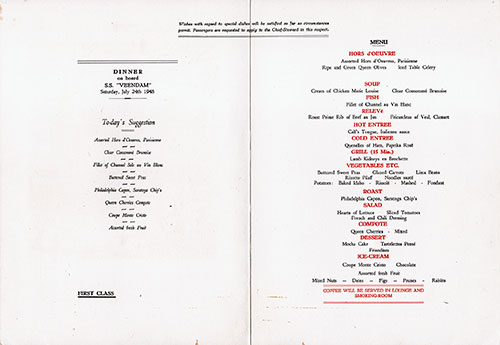 Menu Cover, Dinner Menu, S.S. Veendam, Holland-America Line, 24 July 1948