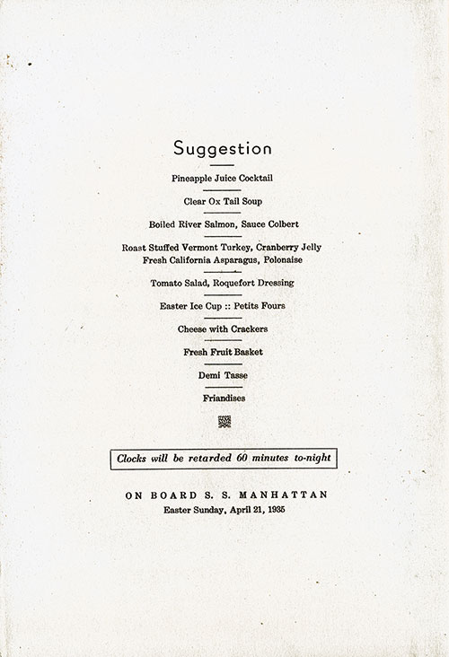Front Cover, Easter Dinner Menu, S.S. Manhattan, United States Lines, April 21, 1935