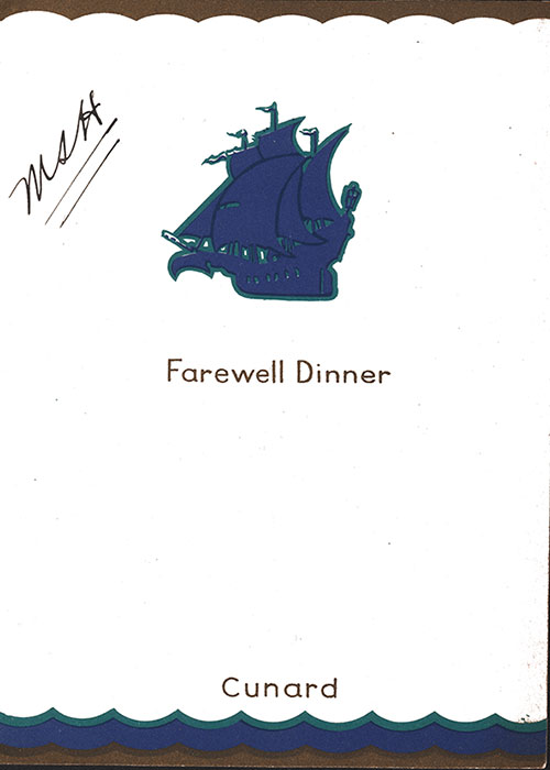 Front Cover, RMS Aquitania Dinner Menu - 7 November 1933