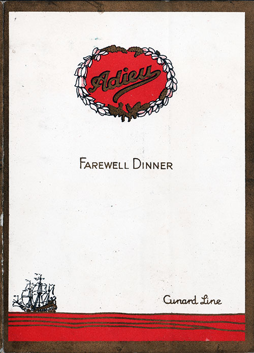 Front Cover, RMS Ascania Farewell Dinner Menu - 19 July 1930