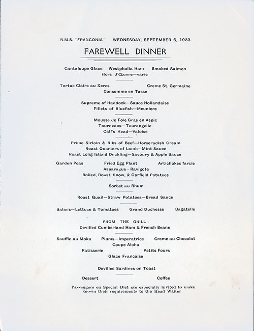 Front Cover, Pirate Farewell Dinner Menu, R.M.S. Franconia, Cunard Line, September 1933