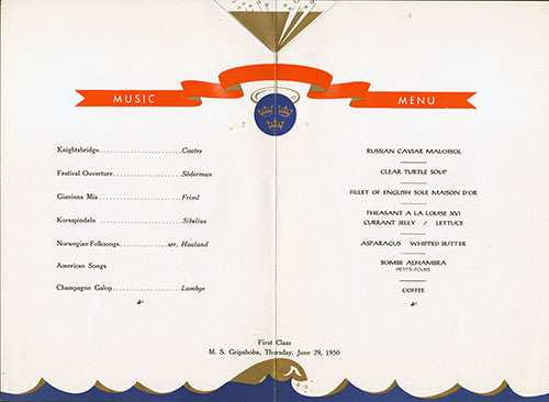 Menu Cover, Farewell Dinner Menu, M.S. Gripsholm, Swedish American Line, First Class, 1950