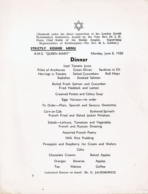 Menu Cover - Kosher Dinner Menu, R.M.S. Queen Mary, Cunard Line, 8 June 1936