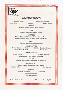 Luncheon Bill of Fare Card, SS American Farmer, American Merchant Lines, 1934