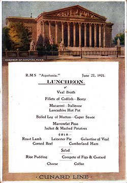 Front Cover, RMS Aquitania Luncheon Bill of Fare - 27 June 1921