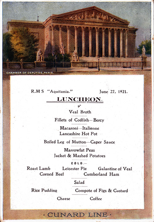 Front Cover, RMS Aquitania Luncheon Menu - 27 June 1921